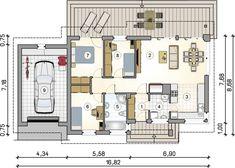 Projekt domu Roberto II Sz 83,20 m² - koszt budowy - EXTRADOM Atrium, Industrial Style, My House, House Plans, Floor Plans, How To Plan, Studio, Home Decor, Interiors
