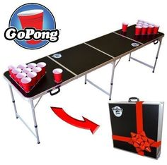 Beer Pong Folding Table Funny Birthday GoPong 8-Foot Portable 6 Ping-Pong Balls