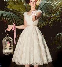 Custom Made noivas vestidos estilo ocidental de alta qualidade laço Material Retro Vintage chá comprimento do vestido de casamento 2015 fornecedor CE120(China (Mainland))