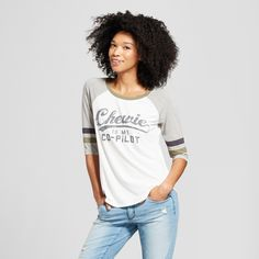22f112be9 Women s Star Wars Sleeve Chewie Is My Co-Pilot Graphic T-Shirt (Juniors )  White   Target