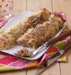 Photo de la recette : Crêpes farcies au jambon, champignons et béchamel
