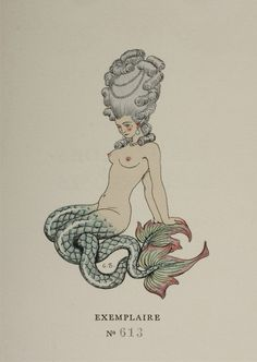 George Barbier, original drawing of a mermaid for the frontispiece to volume 2 of Choderlos de Laclos, Les liaisons dangereuses (Paris, Le Vasseur, Art And Illustration, Illustrations, Book Art, Mermaids And Mermen, Art Prints For Sale, Merfolk, Mermaid Art, Marie Antoinette, Sea Creatures