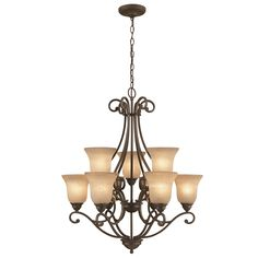 Portfolio Linkhorn 30-in 9-Light Iron Stone Wrought Iron Hardwired or Plug-in Tinted Glass Shaded Standard Chandelier
