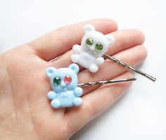 Blue and white teddy bear bobby pin set by ultraterrestrial, $5.00