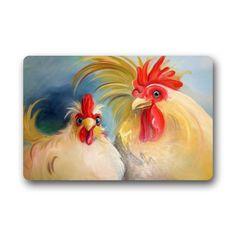 Funny Hen Rooster Couple Chicken Art Doormats Entrance Mat Floor Mat Door Mat Rug Indoor/Outdoor/Front Door/Bathroom Mats Rubber Non Slip (23.6'x15.7',L x W) >>> Amazing deals just a click away : Doormats