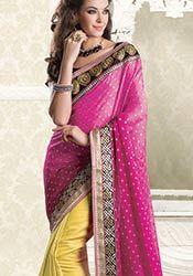 Trendy Beige N Pink Half N Half Saree