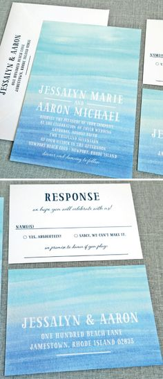 NEW Jessalyn Watercolor Beach Wedding Invitation Sample - Aqua and Blue Watercolor Beach Destination Wedding Invitation