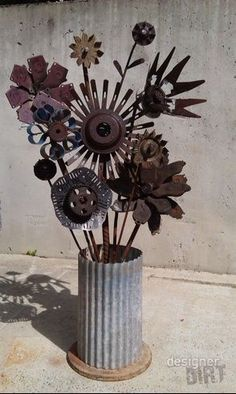 Recycled metal flowers. Garden art at Designer Dirt