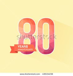 80 Years Anniversary with Low Poly Design - stock vector