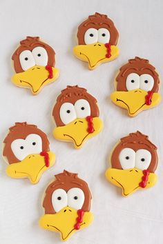 You don't need a turkey cookie cutter to make cute turkey cookies. An acorn cutter is used to make these simple Turkey cookies decorated with royal icing.