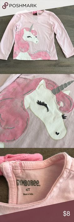 🦄 Unicorn Toddler Long Sleeve Shirt - Gymboree 🦄 Magical toddler shirt from Gymboree with a large, detailed unicorn on the front. Cute bow in the back with a button closure. So cute when paired with a skirt and cotton tights! Great condition! 🎀 Offers welcome! 🎀 Gymboree Shirts & Tops Tees - Long Sleeve