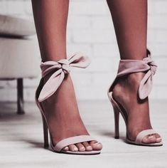 I love these tied heels. So cute. I love the pink heel too