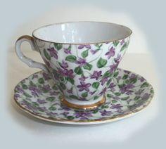 Lefton China Violet Pattern | ... SAUCER -Lefton China Handpainted Violet Chintz Pattern -soooo pretty