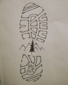 Get out hiking drawing