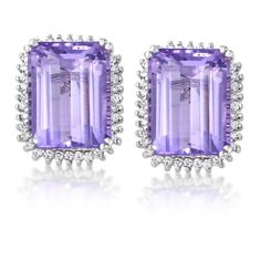 Pre-owned Citra 14K White Gold Diamond & Amethyst Stud Earring ($1,245) ❤ liked on Polyvore featuring jewelry, earrings, 14 karat gold earrings, fine jewelry, holiday earrings, diamond earrings and white gold earrings