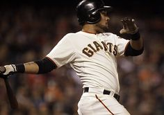 Game 49/162, 5/29/2012; Giants Melky Cabrera continues to stay hot as he hits a single during the eighth inning against the Diamondbacks.  The Giants would go on to win, 3-1.  Cabbrera broke a Giants May hitting record with this hit, previously held by Willie Mays.