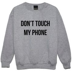 Dont Touch My Phone Sweater Jumper Womens Ladies Girl Funny Fun Tumblr... (28 CAD) ❤ liked on Polyvore featuring tops, black, sweatshirts, women's clothing, hipster tops, gothic tops, goth tops, grunge tops and star print top