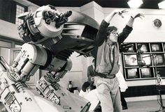 Paul Verhoeven and ED-209 on the set of RoboCop
