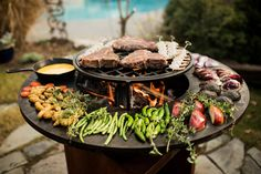 How To Grill Steak, Bbq Grill, Outdoor Cooking, Outdoor Kitchens, Fire Pit Grill, Pleasant View, Cooking Together, Wood Storage, Roasted Vegetables