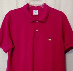 BROOKS BROTHERS Polo Shirt SLIM FIT Men Sz L Large Hot Pink Fuchsia Short Sleeve #BrooksBrothers #PoloRugby
