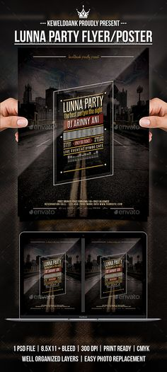 "Lunna Party flyer templates or poster template designed to promote any kind of music event, concert, festival, party or weekly event in a music club and other kind of special evenings. Features1 psd File Print Ready 8.5x11""   Bleed 300 dpi CMYKWell Organized L"