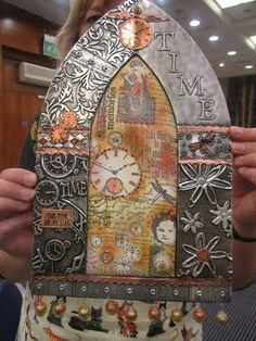 Stamping, sewing, metal embossing and distressing a Gothic arch. Beautiful by Alice Lumley