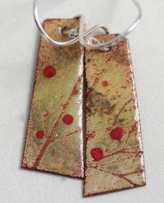 Red Fruit Botanical Enamel Earrings