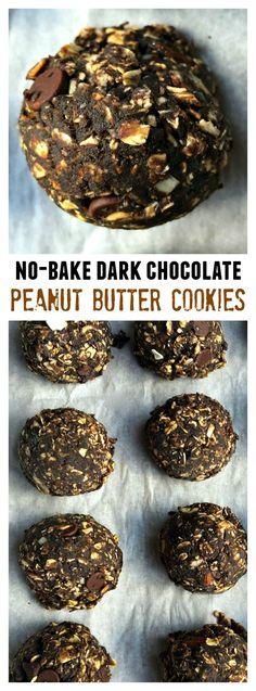 No-Bake Dark Chocolate Peanut Butter Cookies