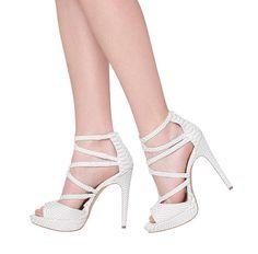 white faux snake heels <3
