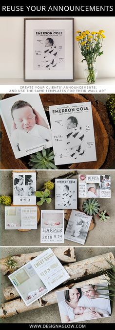 Reuse your Design Aglow baby announcements to create beautiful wall art for your clients! Most of our templates are vector based and can be resized.
