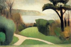 """Near Swanage, 1916.  Mark Gertler.  (Virginia Woolf on Gertler: """"Good God, what an egoist!"""" We have been talking about Gertler to Gertler for some 30 hours; it is like putting a microscope to your eye. One molehill is wonderfully clear; the surrounding world ceases to exist.)"""