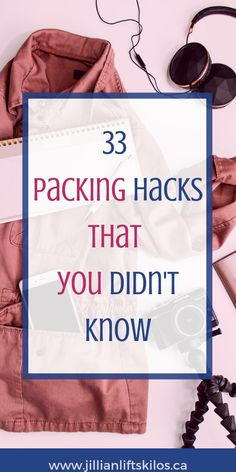 Packing Hacks that actually work (and Ive tried them!) Jillianliftskilos: Learn about the top packing MISTAKES and do these 33 things instead! Travel like a professional with these packing and travel tips. Carry On Packing, Packing Tips For Travel, Travel Essentials, Packing Hacks, Travel Hacks, Travel Ideas, Travel Gadgets, Packing Lists, Travel Kits