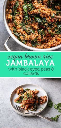 Vegan Jambalaya Recipe with Brown Rice, Black Eyed Peas and Collards : Vegan Brown Rice Jambalaya with Black Eyed Peas & Collard Greens Vegan Dinners, Lunches And Dinners, Healthy Dinner Recipes, Vegetarian Recipes, Vegan Brown Rice Recipes, Going Vegetarian, Vegan Jambalaya, New Year's Food, Pea Recipes