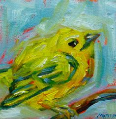 Original 4x4 Painting oil on board Yellow Bird by BellaCosaArt