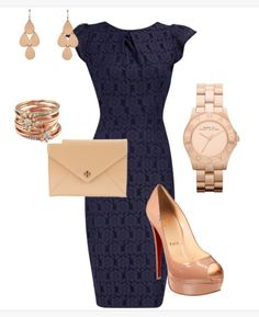 Navy blue dress outfit... if only it were an a-line skirt.