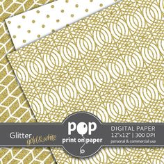 Gold digital paper GLITTER gold white by POP print on paper on Etsy