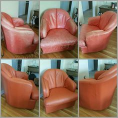 Did you know you can paint on real leather? This Natuzzi swivel chair was a STEAL! Now it's ADORING!