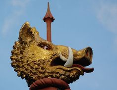 Wood carving of a Boar's Head (c. 1938), by William Bloye, outside the pub of that name, at Perry Barr, Birmingham, England. The boar's head is part of the heraldry in the coat of arms of the Gough-Calthorpe family
