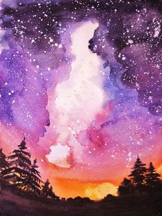 Ella Polyakova, watercolor - Alicia - Space Everything Watercolor Galaxy, Galaxy Painting, Galaxy Art, Watercolor Drawing, Watercolor Landscape, Painting & Drawing, Space Watercolor, Galaxy Wallpaper, Beautiful Paintings