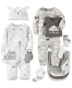 Carter's Baby Boys' or Baby Girls' Neutral Little Lamb Clothing Sets Coveralls Burb Cloths & Mitts - Newborn Shop - Kids & Baby - Macy's Carters Baby Clothes, Carters Baby Boys, Cute Baby Clothes, Babies Clothes, Babies Stuff, Toddler Boys, Baby Outfits, Newborn Outfits, Baby Girls