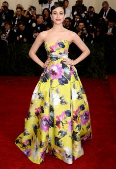 Gala du MET 2014 : les looks du tapis rouge Emmy Rossum en Carolina Herrera