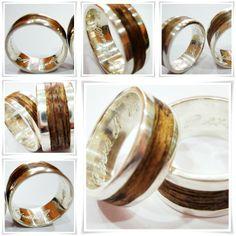 Argollas de matrimonio de plata y madera