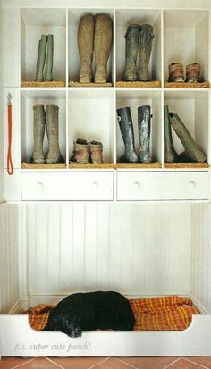 Mudroom (muddy boot cubbies). we have a few pairs of those around here.