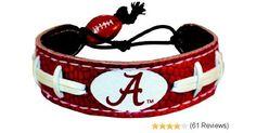 Alabama Crimson Tide A Logo Team Color Football Bracelet