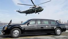 "Image: Marine One helicopter, carrying US President Barack Obama, prepares to land next to the Presidential limousine, known as ""The Beast,""..."
