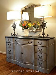 Furniture restoration - mixed equal parts of Annie Sloan Chalk paint in paris gray and louise blue. Chalk Paint Furniture, Furniture Projects, Furniture Making, Diy Furniture, Blue Furniture, Gray Bedroom Furniture, Furniture Online, Rustic Furniture, Furniture Design