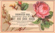 Victorian Trade Card, Zinsmeister Bros Boots & Shoes, Syracuse, NY.