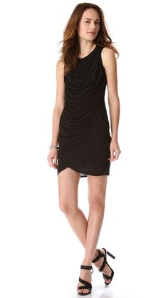 HELMUT Helmut Lang Kinetic Jersey Draped Dress - I love Helmut Lang, and I love that a line was developed for more casual wear and more affordable prices. This is a perfect LBD for Fall!