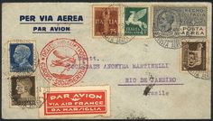 Philasearch.com - Italien Airmail cover sent from Genova to Brazil on 28/MAY/1936, with AIR FRANCE label, but dispatched by German airmail, VF quality!  Erhaltung   Anbieter Guillermo Jalil-Philatino  Saalauktion Ausruf: 25.00 US$ (ca. 18 EUR)