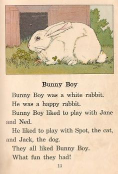 """1930's Basic Reader """"Bunny Boy"""" by William H. Elson and William S. Gray"""